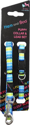 Picture of Hem and Boo Collar and Lead Set Blue Zig Zag