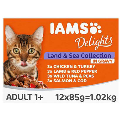 Picture of Iams Delights Land & Sea Cat Food in Gravy 12 x 85g