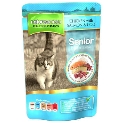 Picture of Natures Menu Cat Senior Pouch - 12 x 100g