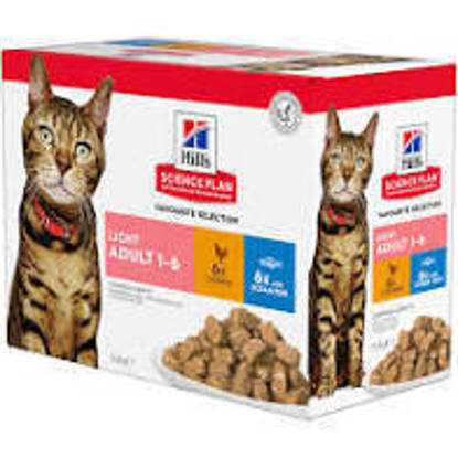 Picture of Hills Science Plan Light Cat Multi pack pouches 12 x 85g